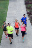 Portrait of group of friends running in the park. Royalty Free Stock Photos