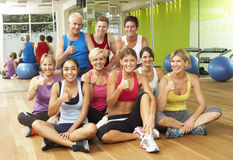 Portrait Of Group Of Gym Members In Fitness Class stock image