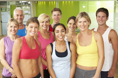Portrait Of Group Of Gym Members In Fitness Class Stock Photography