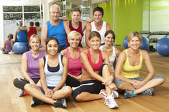Portrait Of Group Of Gym Members In Fitness Class Stock Photo