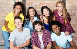 Portrait of group of latin and african american young adult people stock photo