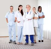 Portrait of a group of mature doctors. Standing together at the hospital royalty free stock photography