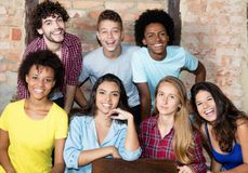 Portrait of group of multi ethnic american young adult people stock photos