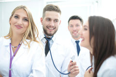 Portrait of group of smiling hospital colleagues standing togeth Stock Photography