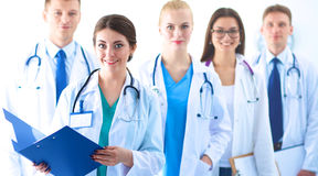 Portrait of group of smiling hospital colleagues standing together Royalty Free Stock Photos