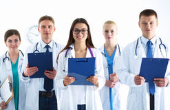 Portrait of group of smiling hospital colleagues standing together Royalty Free Stock Photography