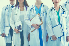 Portrait of group smiling hospital colleagues standing together Stock Image
