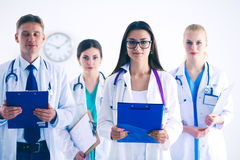 Portrait of group of smiling hospital colleagues standing together . Doctors Royalty Free Stock Photos