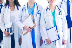Portrait of group of smiling hospital colleagues standing together . Doctors Stock Photo