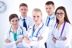 Portrait of group of smiling hospital colleagues standing together . Doctors Stock Photos