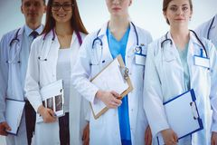 Portrait of group of smiling hospital colleagues standing together . Doctors Royalty Free Stock Image