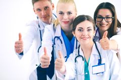 Portrait of group of smiling hospital colleagues standing together . Doctors Royalty Free Stock Photo