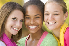 Portrait Of A Group Of Teenage Girls Stock Photos