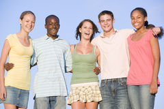 Portrait Of A Group Of Teenagers Outdoors. Smiling Royalty Free Stock Photography