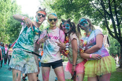 Portrait of group of teens at Colore Mulhouse 2017. MULHOUSE - France - 4 June 2017 - portrait of group of teens at Colore Mulhouse 2017, the annual running of Stock Image