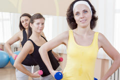Portrait of Group of Three Caucasian Female Athletes Having a Workout Training Royalty Free Stock Photos