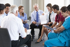 Portrait Of Group Of Workers In Medical Professions stock photo