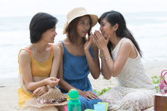 Portrait group of young beautiful woman friend gossip whispering. Portrait group of young beautiful women friend gossip whispering talking about secret story royalty free stock image