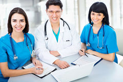 Portrait group of a young doctors Royalty Free Stock Photo