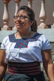 Portrait of Guatemalan lady in traditional dress. San Juan La Laguna, Guatemala -March 1, 2016: Portrait of Guatemalan lady in traditional dress in San Juan La Stock Images
