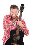 Portrait of a guitarist Royalty Free Stock Images