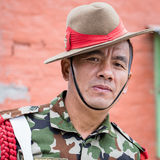 Portrait of a Gurkha warrior from the Nepalese Army in street Kathmandu, Nepal Royalty Free Stock Images