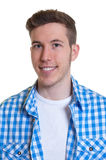 Portrait of a guy in a checked shirt. On an isolated white background for cut out Royalty Free Stock Images