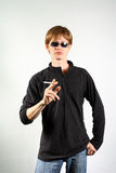 Portrait of a guy with a cigarette Royalty Free Stock Photo