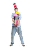 Portrait of guy with gift boxes Stock Photography