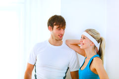 Portrait of guy and girl in sportswear Stock Image