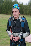 The portrait of the guy-parachutist Stock Image
