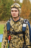 Portrait of the guy-parachutist in a camouflage Stock Photography