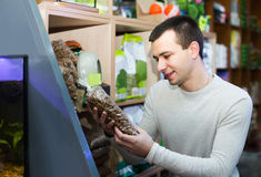 Portrait of guy selecting vet food in petshop. Portrait of happy spanish guy selecting vet food in petshop Stock Photo