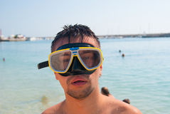 Portrait of guy Snorkeling swimming mask Royalty Free Stock Image