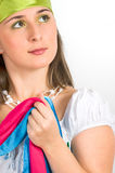 Portrait of gypsy girl. With scarfs Stock Photography