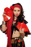 Portrait of gypsy woman with cards. Isolated stock photography