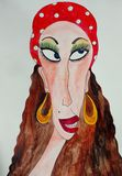 Portrait of gypsy woman. Ink and Watercolours on paper Stock Photography