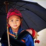 Portrait of H'mong girl in Sa Pa royalty free stock photo