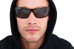 Portrait of hacker with sunglasses Stock Image