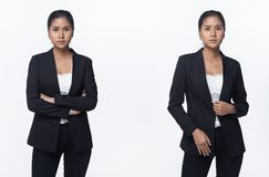 Asian Business Woman Stand in Black Formal Suit. Portrait half body Snap Figure, Asian Business Woman Stand in black Formal proper Suit pants, studio lighting stock photos