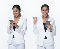 Asian Business Woman Stand in White Formal Suit. Portrait Half Body Snap Figure, Asian Business Woman Stand in White Formal proper Suit pants, studio lighting royalty free stock photography