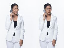 Asian Business Woman Stand in White Formal Suit. Portrait Half Body Snap Figure, Asian Business Woman Stand in White Formal proper Suit pants, studio lighting royalty free stock image