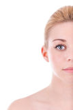 Portrait of half face of beautiful woman - Caucasian people Stock Photo