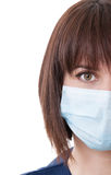 Portrait of half face of a female doctor Stock Images
