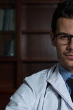 Portrait Half Of Face Of Young Doctor Royalty Free Stock Photos