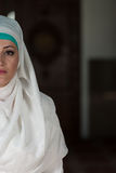Portrait Half Of Face Of Young Muslim Woman Stock Photography
