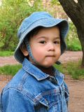 Portrait of a one-and-half-year-old boy in the street spring Royalty Free Stock Photos