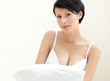 Portrait of a halfnaked woman in bra Stock Images