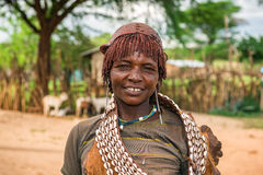 Portrait of a hamar woman in south Ethiopia Royalty Free Stock Photography