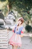 Portrait of Hanbok costume young woman in korean park stock photography